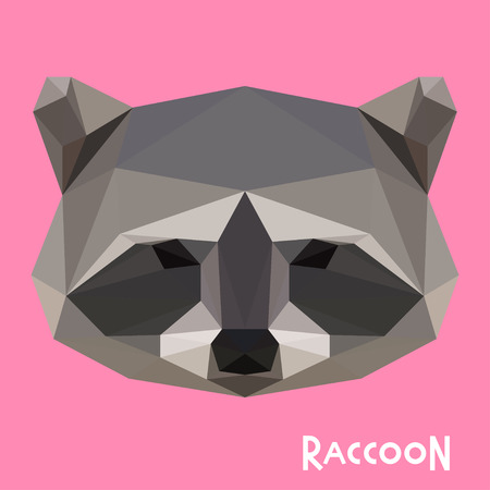 Polygonal geometric vector raccoon background for use in design for card, invitation, poster, banner, placard or billboard cover Illustration