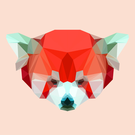 abstract geometric polygonal red panda vector background for use in design for card, invitation, poster, banner, placard or billboard cover Ilustrace