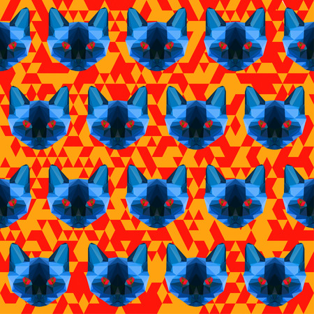 siamese cat: abstract polygonal siamese cat seamless pattern background