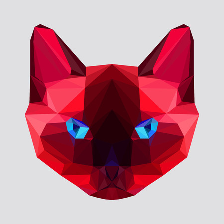 siamese cat: abstract geometric polygonal siamese cat vector background for use in design for card, invitation, poster, banner, placard or billboard cover