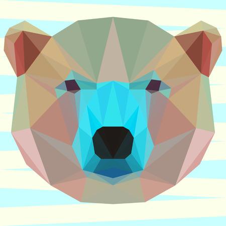 animales salvajes: Mezcla de color fondo blanco poligonal geom�trica oso para su uso en dise�o de la tarjeta, invitaci�n, cartel, pancarta, cartel o portada cartelera