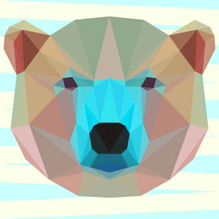 bellow: Mixed colored  geometric polygonal white bear background for use in design for card, invitation, poster, banner, placard or billboard cover Illustration