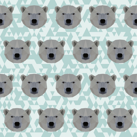 bellow: Abstract geometric polygonal white bear seamless pattern vector background