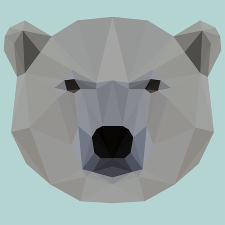 bellow: Abstract geometric polygonal white bear vector background for use in design for card, invitation, poster, banner, placard or billboard cover