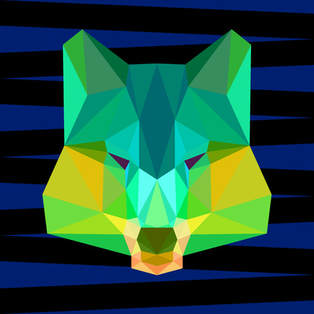 relentless: abstract geometric polygonal bright green wolf vector background for use in design for card, invitation, poster, banner, placard or billboard cover