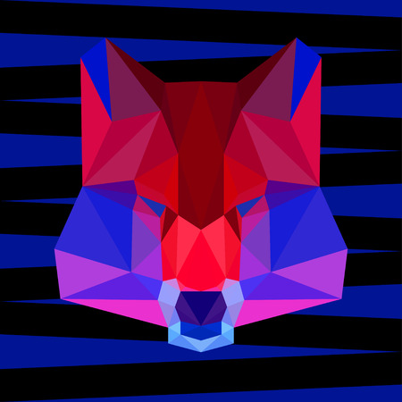 merciless: abstract geometric polygonal wolf vector background for use in design for card, invitation, poster, banner, placard or billboard cover