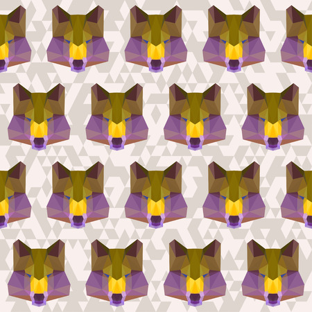 relentless: abstract geometric polygonal wolf seamless pattern background