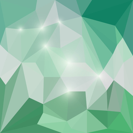 jaded: Abstract sort green polygonal triangular background with glaring lights for use in design for card, invitation, poster, banner, placard or billboard cover Illustration