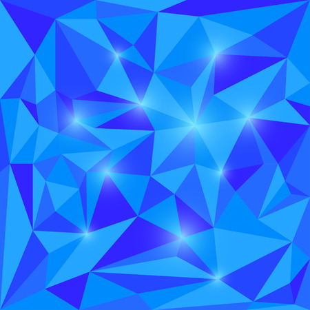 jaded: Abstract bright spectral blue colored polygonal triangular background with glaring lights for use in design for card, invitation, poster, banner, placard or billboard cover Illustration