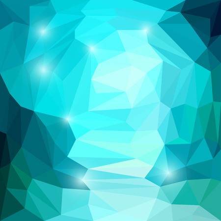 glaring: Abstract bright sea blue colored polygonal triangular background with glaring lights for use in design for card, invitation, poster, banner, placard or billboard cover Illustration