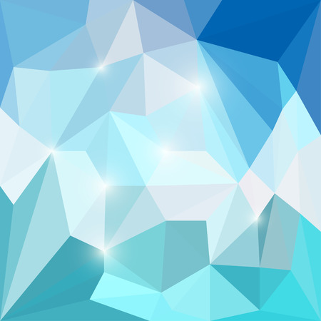 crumbling: Abstract bright blue colored polygonal triangular background with glaring lights for use in design for card, invitation, poster, banner, placard or billboard cover Illustration