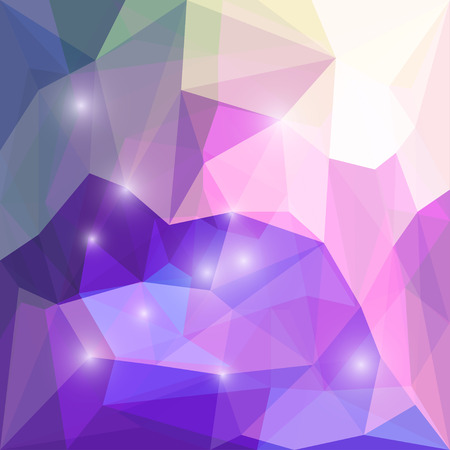 crumbling: Abstract purple and lilac colored polygonal triangular background with glaring lights for use in design for card, invitation, poster, banner, placard or billboard cover