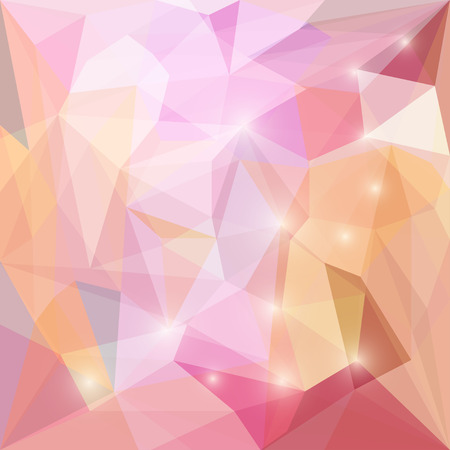 glaring: Abstract soft orange and pink motley colored polygonal triangular background with glaring lights for use in design for card, invitation, poster, banner, placard or billboard cover Illustration