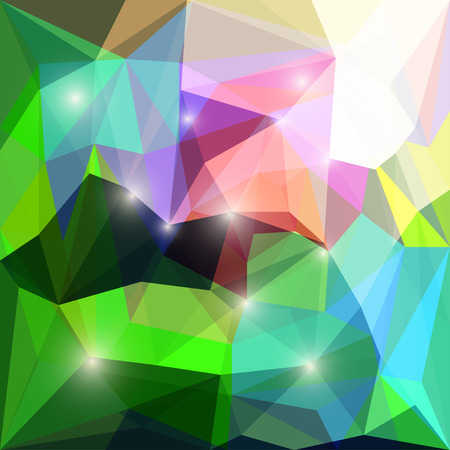 jaded: Abstract bright colored polygonal triangular background with glaring lights for use in design for card, invitation, poster, banner, placard or billboard cover