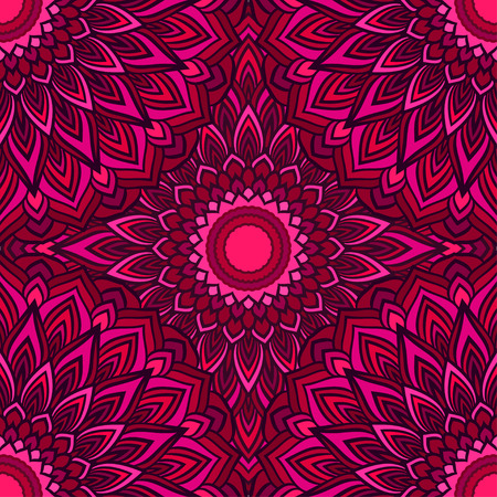 neckerchief: bright hand-drawing ornamental floral abstract seamless background with many details for design of silk neckerchief or printing on textile or use for card, invitation or banner cover Illustration