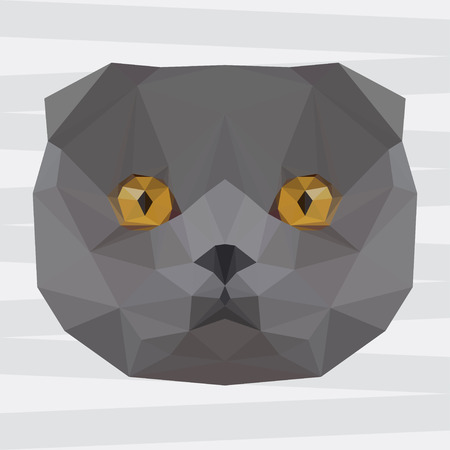 noiseless: Abstract polygonal geometric triangle grey colored british cat portrait background for use in design for card, invitation, poster, banner, placard or billboard cover