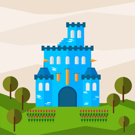 bunner: Bright graphic illustration with cartoon blue colored castle for use in design for card, invitation, bunner, poster or placard background