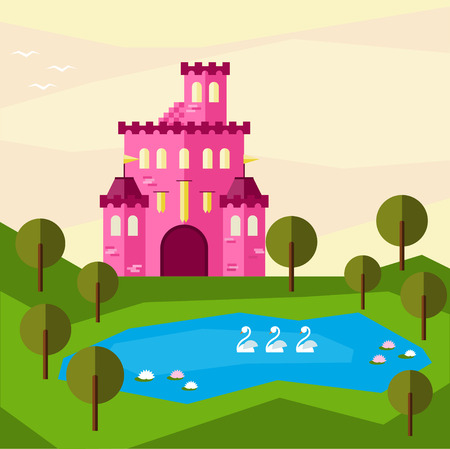 bunner: Bright graphic illustration with cartoon pink colored castle for use in design for card, invitation, bunner, poster or placard background