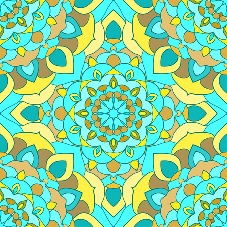 neckerchief: bright blue and yellow hand-drawing ornamental floral abstract seamless background with many details for design of silk neckerchief or printing on textile or use for card, invitation or banner cover. Illustration