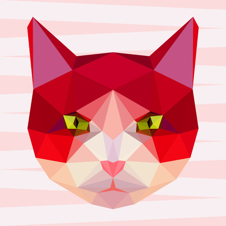 noiseless: Abstract polygonal geometric bright cat portrait for use in design for card, invitation, poster, banner, placard or billboard background