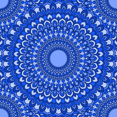 spectral: bright compound spectral blue hand-drawing ornamental floral abstract seamless background with many details for design of silk neckerchief or printing on textile or use for card, invitation or banner cover. Illustration