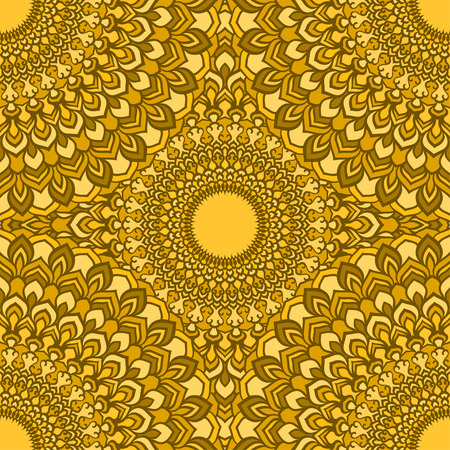 glaring: bright yellow glaring hand-drawing ornamental floral abstract seamless background with many details for design of silk neckerchief or printing on textile or use for card, invitation or banner cover. Illustration