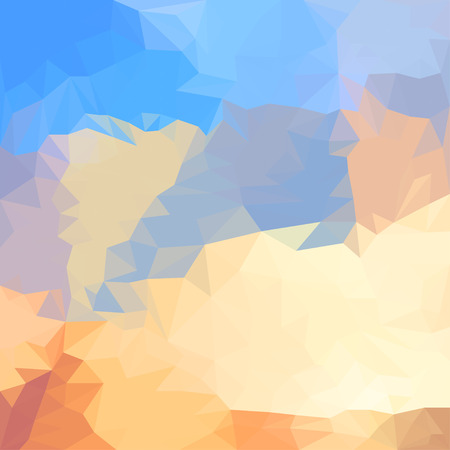 summer sky: Abstract bright blue summer sky with clouds colored polygonal triangular background for use in design for card, invitation, poster, banner, placard or billboard cover