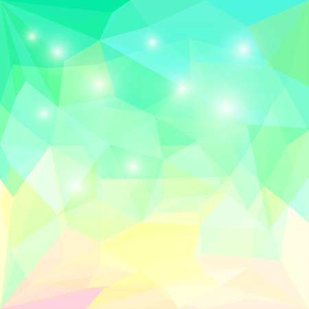 glaring: Abstract bright spring fresh green colored polygonal triangular geometric background with white glaring lights for use in design for card, invitation, poster, banner, placard or billboard cover