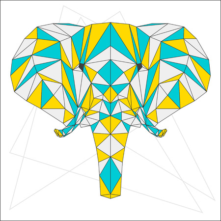 blended: Abstract blue, yellow and grey blended colored polygonal triangle geometric elephant isolated on white background for use in design for card, invitation, poster, banner, placard or billboard cover