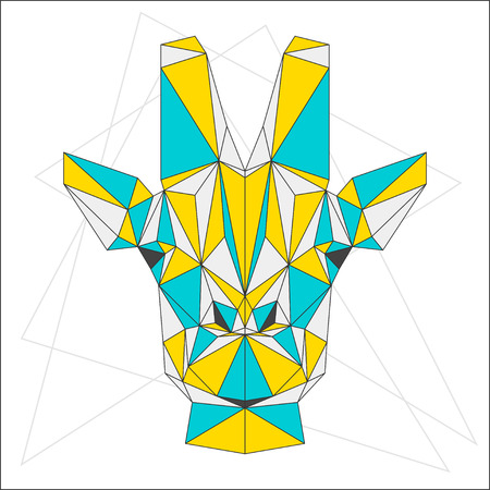 blended: Abstract blue, yellow and grey blended colored polygonal triangle geometric giraffe isolated on white