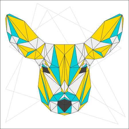 fell: Abstract blue, yellow and grey blended colored polygonal triangle geometric deer