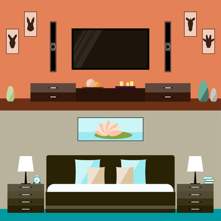 actual: illustration in trendy flat style with room and bedroom interior for use in design for for card, invitation, poster, banner, placard or billboard cover