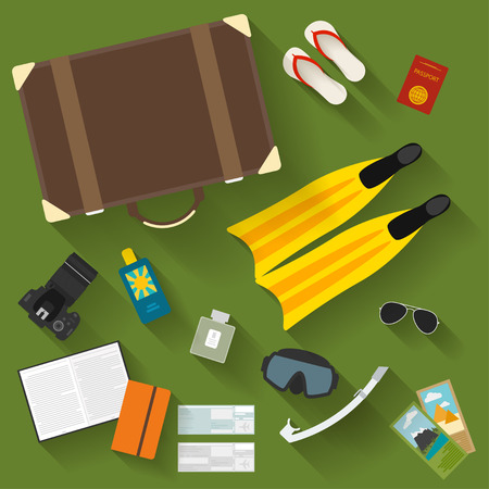 gaiety: illustration in trendy flat style with objects with long shadows used modern people on vacation isolated on green background for use in design for card, poster, banner, placard or billboard Illustration