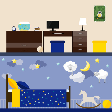 children room: bright illustration in trendy flat style with children room interior for use in design for for card, invitation, poster, banner, placard or billboard cover