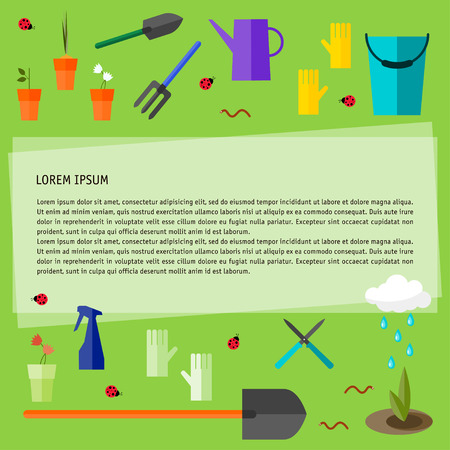 bright colored conceptual illustration with garden tools isolated on fresh green background on the theme of spring gardening for use in design Vector
