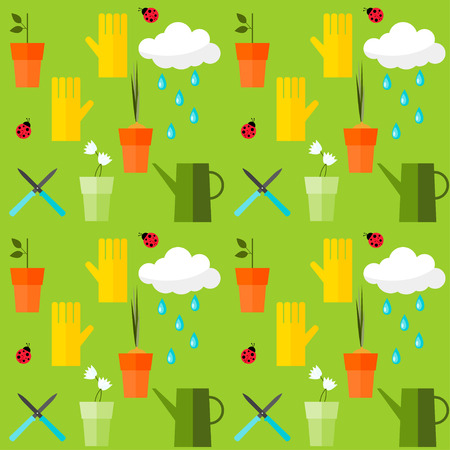 brightly colored seamless pattern background on the theme of gardening Vector