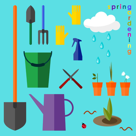 brightly colored conceptual illustration on the theme of spring gardening Vector