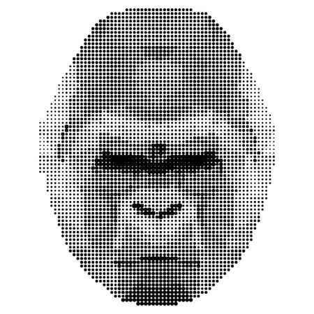 abstract gorilla: abstract monochrome gorilla portrait of circles isolated on white background for use in design