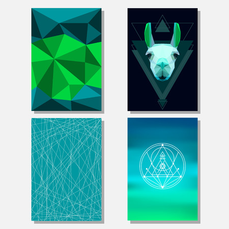 actual: Bright green and deep blue colored set with geometric llama and polygonal background for use in design for card, poster, banner, placard,  brochures or billboard cover
