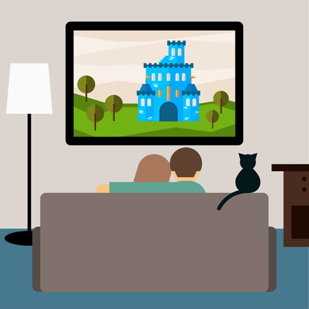 bright illustration in trendy flat style with couple and cat watching the adventure film on television sitting on the couch in the room for use in design for card, invitation, banner, placard, poster