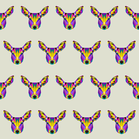 fell: Abstract bright colored polygonal triangle geometric deer seamless pattern background for use in design Illustration