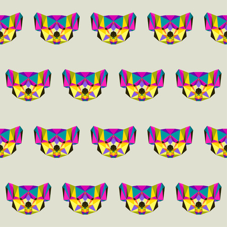 Abstract bright colored polygonal triangle geometric koala seamless pattern background for use in design