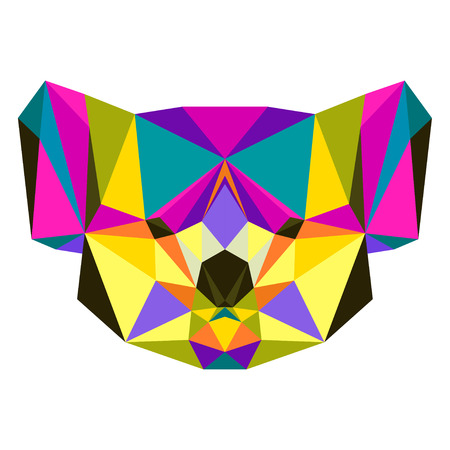 Abstract bright colored polygonal triangle geometric koala isolated on white background for use in design for card, invitation, poster, banner, placard or billboard cover