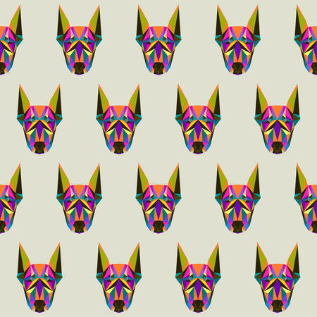 life guard: Abstract bright colored polygonal triangle geometric doberman dog seamless pattern background for use in design