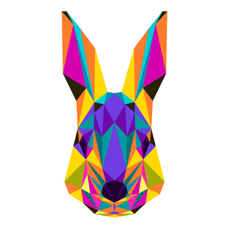 coward: Abstract bright colored polygonal triangle geometric rabbit isolated on white background for use in design for card, invitation, poster, banner, placard or billboard cover