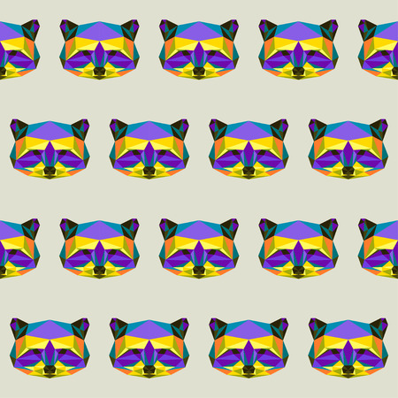 Abstract bright colored polygonal triangle geometric raccoon seamless pattern background for use in design Illustration