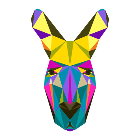 kangaroo white: Abstract bright colored polygonal triangle geometric kangaroo isolated on white background for use in design for card, invitation, poster, banner, placard or billboard cover Illustration
