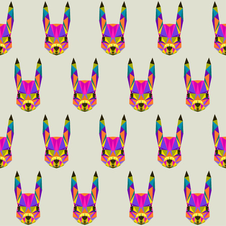 blended: Abstract bright blended colored polygonal triangle geometric squirrel seamless pattern background for use in design