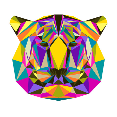 bellow: Abstract bright blended colored polygonal triangle geometric tiger isolated on white background for use in design for card, invitation, poster, banner, placard or billboard cover