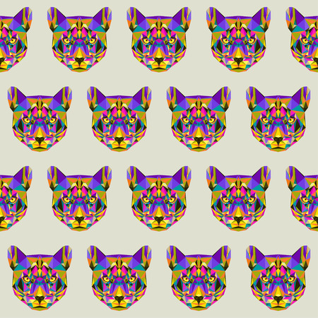 puma: Abstract bright blended colored polygonal triangle geometric puma seamless pattern background for use in design